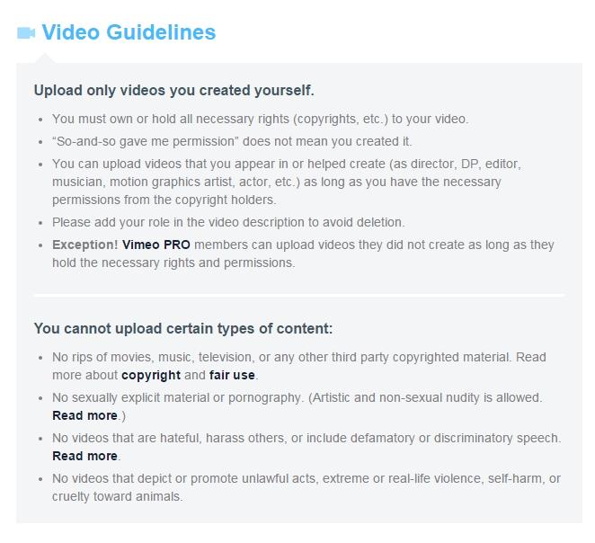 Vimeo Guidelines