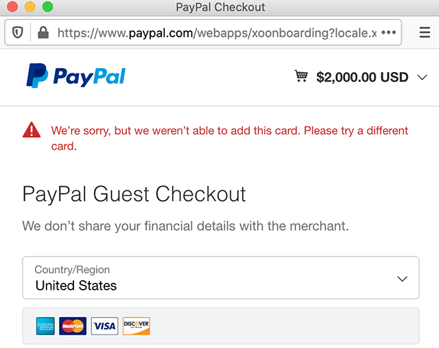 adding a new card on PayPal