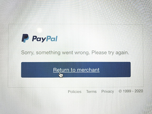 something went wrong with your paypal
